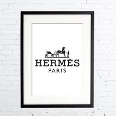 Hermes logo Print, Fashion Print in Black & White, Prada poster, Art Home Decor, Wall Art, Bedroom Decor, Gift for Her, Hermes Paris