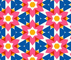 Retro Flowers-with Blue fabric by stoflab for sale on Spoonflower - custom fabric