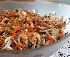 Salada de Frango com Alho Frito e Cenoura Carne, Salsa, Food And Drink, Low Carb, Healthy Recipes, Ethnic Recipes, Fitness, Healthy Salad Dressings, Healthy Salads