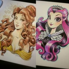 Haven't been posting any of my pre-order commissions. Here was a Belle and Raven Queen. #art #drawing #sketch #doodle #portrait #character #illustration #traditionalart #cartoon #fanart #Disney #disneyprincess #Belle #BeautyandtheBeast #tea #painting #RavenQueen #EverAfterHigh #Mattel #EAH #commission #Copic #CopicArt by kelleeart