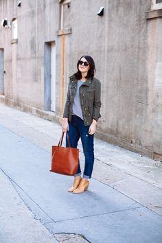 Striped tee, boyfriend jeans, utility jacket