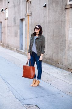 Striped tee, boyfriend jeans, utility jacket