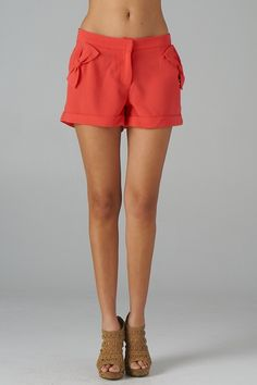 red crepe shorts.