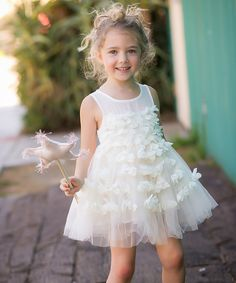 Take a look at this Flower White A-Line Dress - Toddler & Girls today!