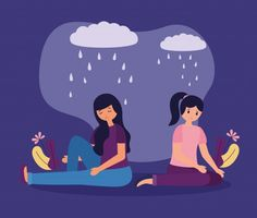 People with depression and unhappiness Vector Overcoming Depression, Dealing With Depression, Vector Free Download, Mental Disorders, Fb Covers, Layout Inspiration, Wallpaper, Psychology, People