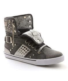 Another great find on #zulily! Gray  Black Pinwheel Hi-Top Sneaker by Pastry #zulilyfinds
