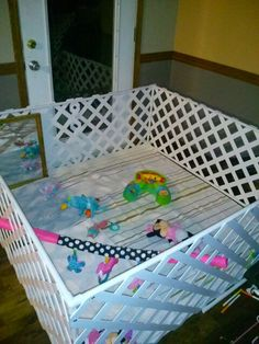 Play Pen - my daughter is almost 6 months old now and i got tired of the dog coming inside and getting on her blankets, playing with her toys, other kids (and husband) tracking dirt in, but all the play pens i found were expensive and small. So i made my own, out of pvc pipe and lattice. It took 1 day (actually only about and hour or two but i kept getting distracted, lol.) And only cost $60! The lattice was the most expensive at $13 a sheet and i had to buy 3.