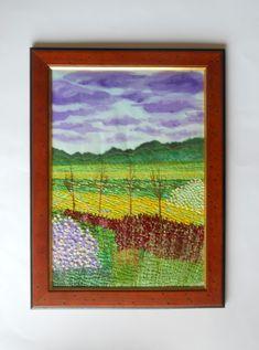 Fiber Art Embroidered landscape Wall hanging framed textile painting