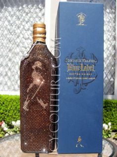 COLLECTOR's ITEM: ICY Couture Swarovski Crystal Bottle of Johnnie Walker's Blue Label Whisky Blue Label Whisky, Johnny Walker Blue Label, Champagne, Whiskey, Swarovski Crystals, Scotch, Unique Jewelry, Handmade Gifts, Wine Bottles