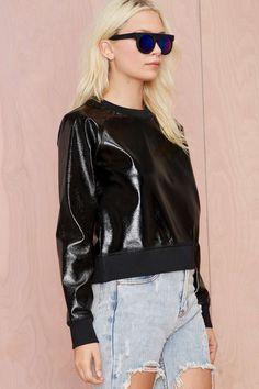BLQ Basiq Rebel Vegan Leather Sweatshirt | Shop Clothes at Nasty Gal