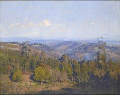 'Valley from Kennons' Arthur Streeton When Streeton was staying at his beloved 'Longacres' in the Dandenongs , he often painted views from surrounding properties- this one from one of his local friend's property , Thomas Kennon. Dream Painting, Forest Painting, Australian Painting, Australian Artists, Landscape Art, Landscape Paintings, Contemporary Landscape, Australia Landscape, Perspective