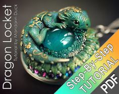 Polymer Clay Dragon Locket Pendant Tutorial PDF green dragon skin swarovski eye swirls necklace