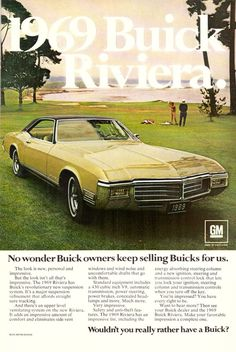 1969 Buick Riviera Car Automobile Retro Print Ad Vintage Advertisement VTG 60s | eBay