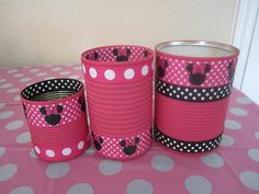 Set of 3 MINNIE MOUSE CANS Decrated in Pink and by partiesgalore