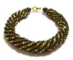 Beaded Bracelet Bead Woven Bracelet Black and by JewelleryByJora