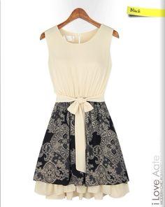 Vestido Vintage. Color: Beige con Negro. Tallas: S - M - L. Precio: $70.000