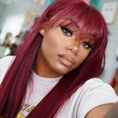 Red Wigs Lace Frontal Wigs Red And Black Wig Short Grey Hair Wigs Colored Wigs Lace Front Burgundy Frontal Bob Red Hair And Green Eyes Grey Hair Wig, Short Grey Hair, Hair 24, Hair Colorful, Human Hair Color, Colored Wigs, Straight Lace Front Wigs, Straight Hair, Wigs With Bangs