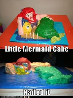 21 Horrifying And Terrifying Disney Cake Fails Little Mermaid Cakes, The Little Mermaid, Funny Images, Funny Pictures, Animal Pictures, Nail Memes, Baking Fails, Fail Nails, Expectation Vs Reality