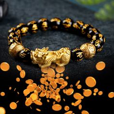 Attract Wealth With This Feng Shui Black Obsidian Wealth Bracelet - The Pixiu Attracts Wealth And Positive Energy While the Black Obsidian Protects And Repels Negative - Lucky Charm Bracelet, Power Bracelet, Bracelets With Meaning, Bracelets For Men, Handmade Bracelets, Crystals And Gemstones, Stones And Crystals, Bingo Bag, Feng Shui Wealth