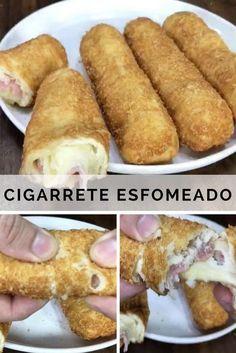 Receita gostosa de Cigarrete, um salgado recheado com presunto e queijo, delícia! #receitas #receita #culinaria #comida #salgado #lanche #presunto #queijo