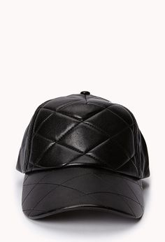Quilted faux leather baseball hat - $10