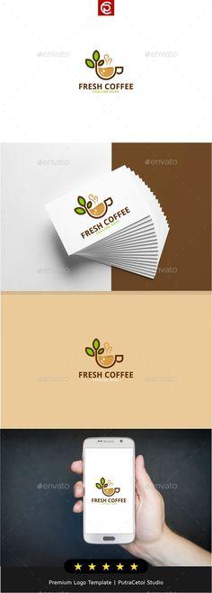 Fresh Coffee Logo: Food Logo Design Template by putracetol. Food Logo Design, Logo Design Template, Logo Templates, App Design, Resturant Logo, Logo Restaurant, Coffee Icon, Coffee Logo, Logo Psd