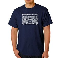 Men's Graphic Novelty T-shirt Tees 100% Cotton - Greatest Rap Hits of The 1980's - Navy Blue - Large