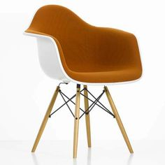 Eames Plastic Arm Chair DAW Chair Fully Upholstered Vitra designed by Charles & Ray Eames Charles Eames, Vitra Design, Chair Design, Eames Chairs, Upholstered Chairs, Desk Chairs, Chair Cushions, Swivel Chair, Side Chairs