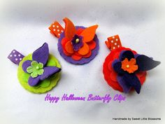 Halloween Hair Clip  Set of 3  Orange by Sweetlittleblossoms, $13.50