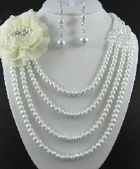 WHITE PEARLS with Flower Necklace and Earrings BEAUTIFUL! $28.95