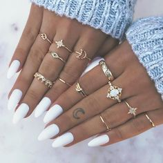 13 pcs ring set Europe and the United States retro opal crown diamond explosion star moon joint 13 1 Aycrlic Nails, Coffin Nails, Cute Nails, Pretty Nails, Hair And Nails, Toenails, Nagellack Design, Accesorios Casual, Best Acrylic Nails