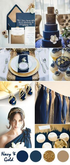 navy blue and gold vintage wedding color ideas