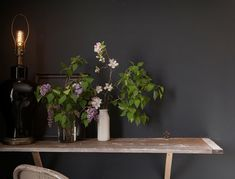 Table on Ten B & B; what I miss most about New England: lilacs
