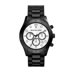 Michael Kors Watches Black Stainless Steel Watch  Chronograph - Watch with white accents, markers, date, and black stainless steel bracelet.  | Marlee's by Tappers | Novi | West Bloomfield | Troy | Michigan