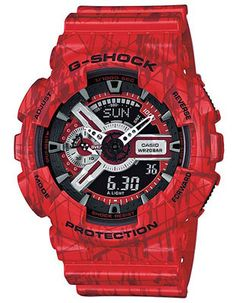 Showcase the eye-catching look of this robust Casio model featuring a distinctive red concrete/slash pattern. Set against black and white, the intricate dial design complements the X-large case. For 2