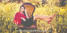 High school senior pictures, Tennessee field in the fall with an antique chair prop.