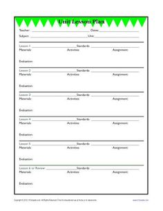 This Is The One Page Lesson Plan Template That I Use To Make My