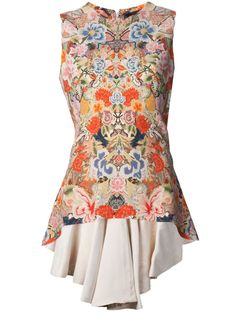 Multicolored rayon blend sleeveless drape top from Alexander McQueen featuring a round neck, a back zip fastening, a floral print, a high low hem and a ruffled design.