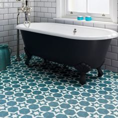 Ca' Pietra Nova Porcelain Peacock. Hexagon tile with freestanding blue bath. Porcelain Hexagon Tile, Hexagon Tiles, Porcelain Ceramics, Nova, Hallway Flooring, Parisian Cafe, Blue Bath, Feature Tiles, Shower Screen