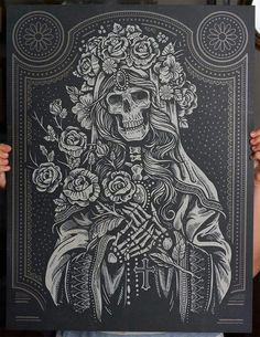 """The """"Sacred Virgin"""" is an screen printed art print inspired from the Lady of Guadeloupe. In Mexican culture, it is believed that the Virgin Mary presented herself to Juan Diego. Proving her identity through a miraculous sign, it is believed The Vi… Kunstjournal Inspiration, Pink Hotel, Mary Tattoo, Chicano Art, Skull Art, Screen Printing, Fantasy Art, Art Drawings, Illustration Art"""