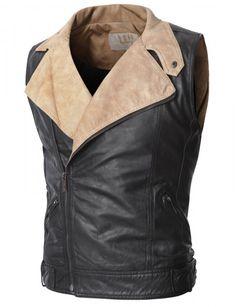 Doublju - Colete de Couro Ecológico Unbalanced (CVJ07) Compre roupas de qualidade, com design inovador e preço justo!