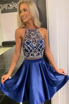 Formal Dresses short navy blue homecoming dresses in two piece with beaded top Dresses Short, Hoco Dresses, Dance Dresses, Blue Dresses, Quinceanera Dresses, Short Winter Formal Dresses, Sexy Dresses, Casual Dresses, Sparkly Dresses