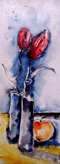 Liebespaar Aquarell auf Leinwand Abstract, Artwork, Floral Watercolor, Still Life, Canvas, Summary, Work Of Art, Auguste Rodin Artwork, Artworks