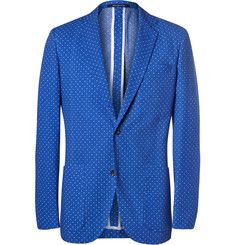 Richard James - Blue Polka-Dot Cotton-Seersucker Blazer