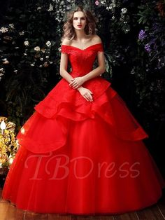 Tbdress.com offers high quality Red Lace Tulle Ruffles Ball Gown Wedding Dress in Color  Color Wedding Dresses  unit price of $ 190.99.