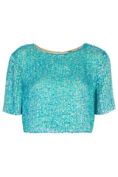 ec07a379a8428 Split Back Sequin Tee  DearTopshop Turquoise Fashion