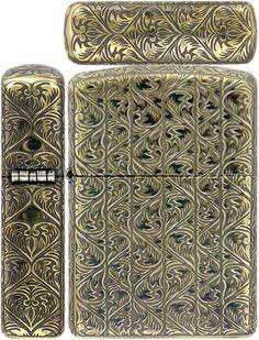 Zippo Lighter Armor Antique Arabesque B Carving 5 Sides Brass Mate Working