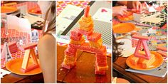 Paris Party game - Eiffel tower building out of wafer cookies! Even works with the color scheme of pink and orange! Lemon Drop Shop