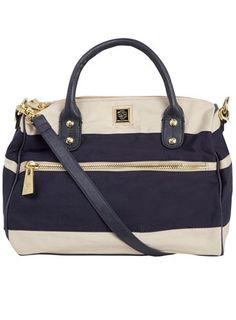 Navy Stripe canvas bag