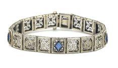 "VINTAGE ART DECO DIAMOND SAPPHIRE FILIGREE 7"" BRACELET 14K WHITE GOLD c1920s | Jewelry & Watches, Vintage & Antique Jewelry, Fine | eBay!"